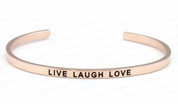 Inspirational Live Laugh Love Cuff Mantra Bracelet Gold Tone
