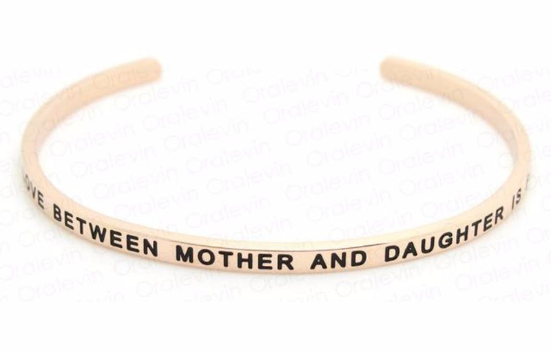 Inspirational The Love Between Mother and Daughter is Forever Cuff Mantra Bracelet Gold Tone