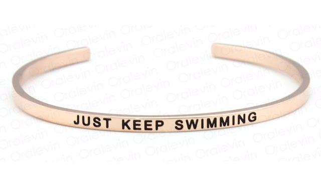 Inspirational Just Keep Swimming Cuff Mantra Bracelet Gold Tone