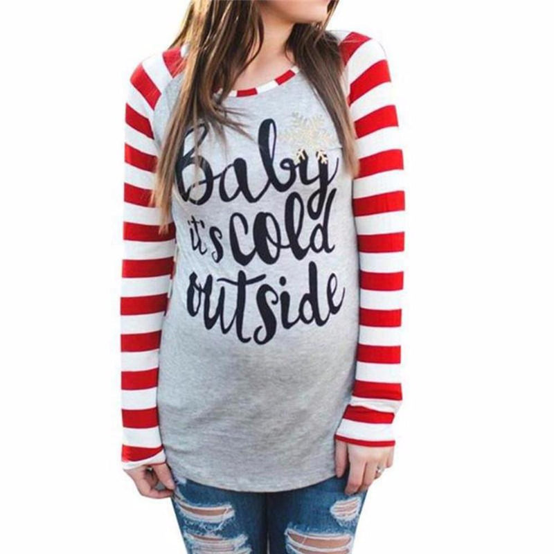 Women's Gray with Red/White Striped Raglan Sleeve Baby It's Cold Outside  T-Shirt