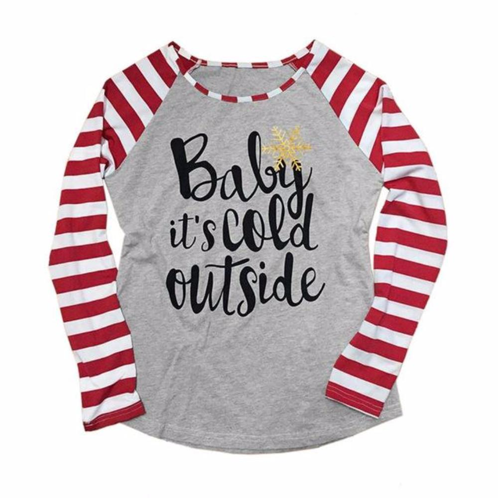 Gray with Red/White Striped Raglan Sleeve Baby It's Cold Outside  T-Shirt