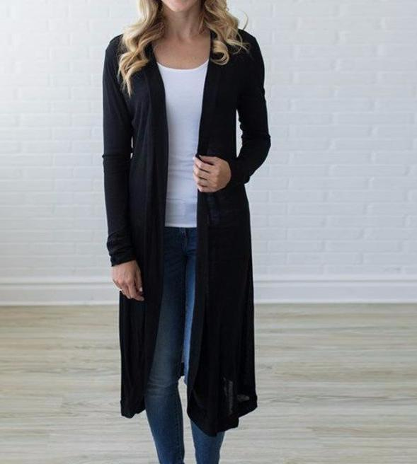 Women's Black Long Sleeve Duster Kimono Long Sleeve Maxi Cardigan
