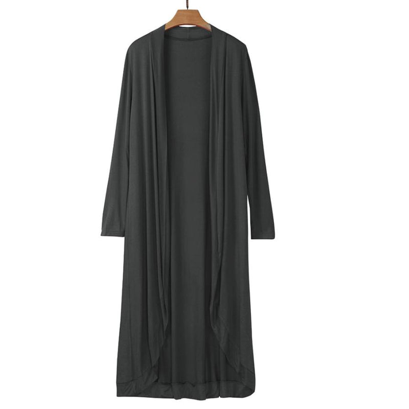 Women's Charcoal Gray Long Sleeve Duster Kimono Long Sleeve Maxi Cardigan Jacket