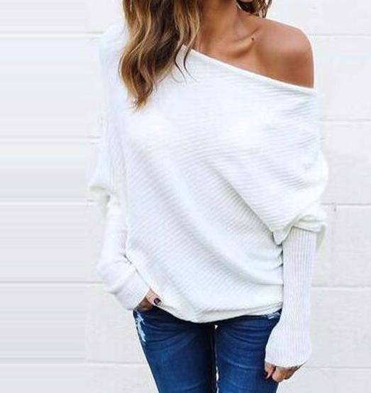 Women's White Off the Shoulder Ribbed Knit Sweater Pullover Top