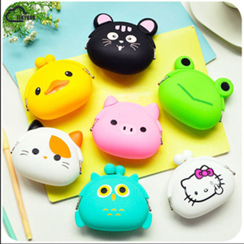 Adorable White Cat Silicone Small Twist Lock Coin Purse Wallet