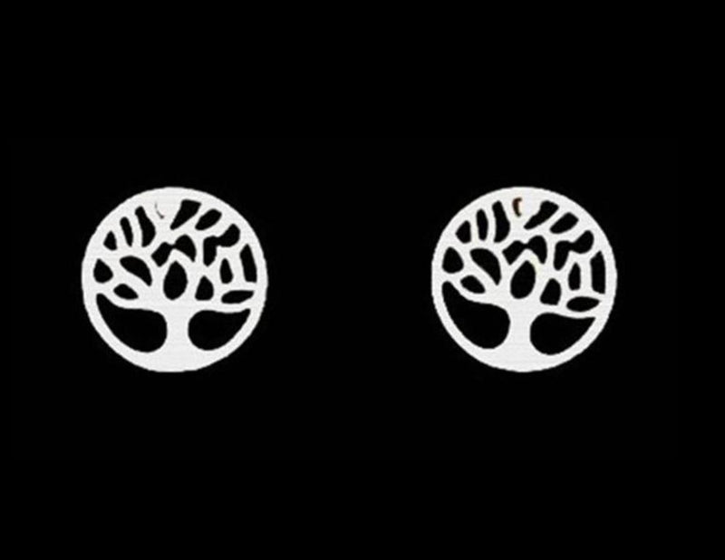 Beautiful Silver Tone Round Tree of Life Stud Earrings