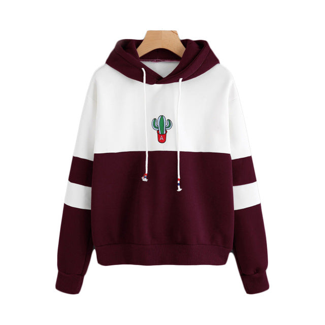 Women's Burgundy Red Striped Cactus Embroidered Hoodie Pullover