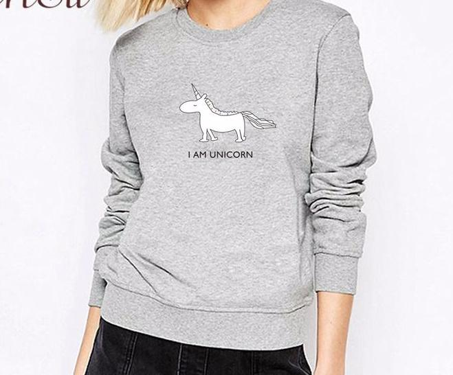 "Gray ""I am Unicorn"" Graphic Printed Long Sleeve Pullover Sweatshirt"