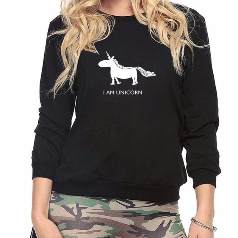 "Gray ""I am Unicorn"" Black Graphic Printed Long Sleeve Pullover Sweatshirt"