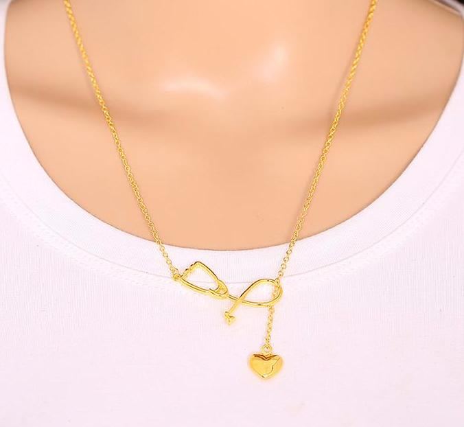 Medical stethoscope charm with lariat heart pendant necklace gold medical stethoscope charm with lariat heart pendant necklace gold tone i love nursesdoctors mozeypictures Images