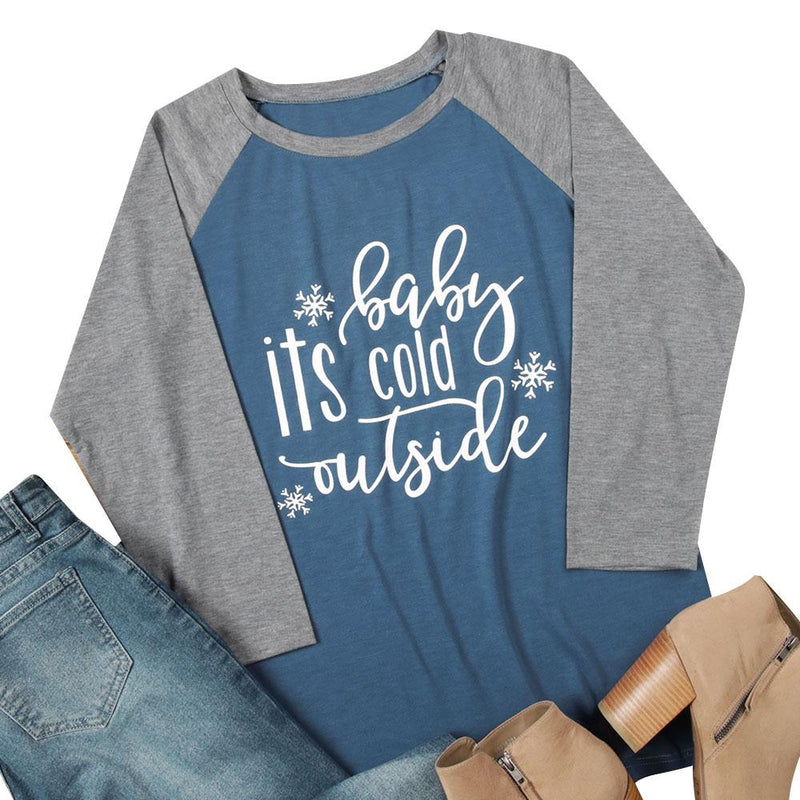 "Women's ""Baby it's Cold Outside"" Blue/Gray Baseball Style Raglan T-Shirt Top"