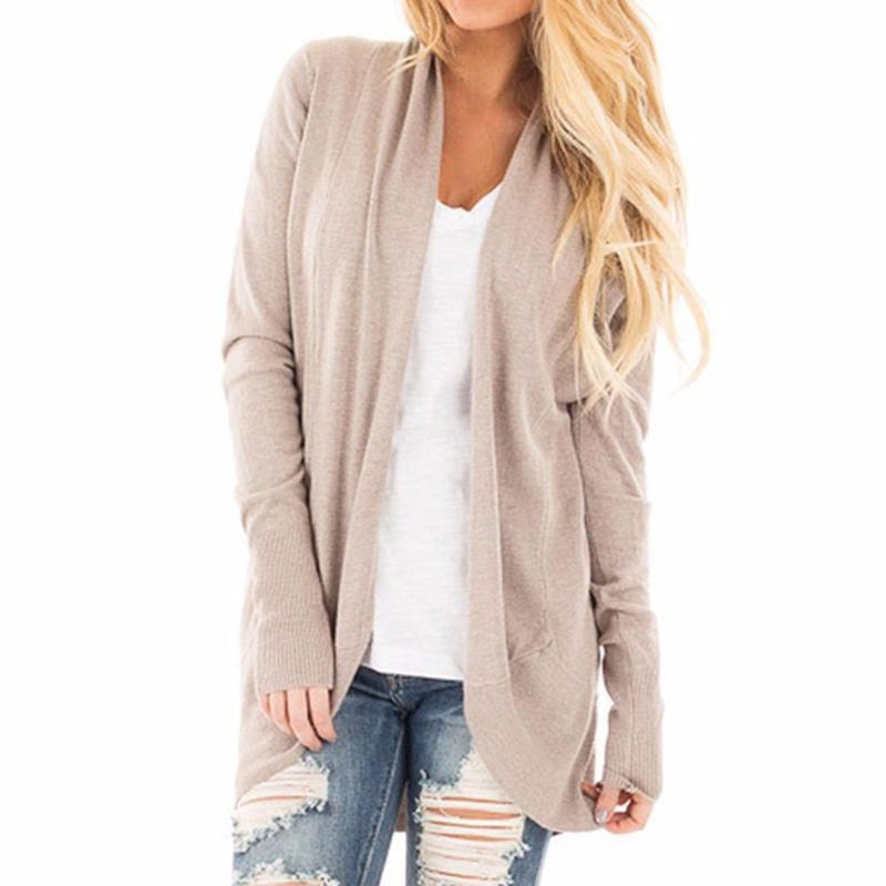 Women's Apricot Long Sleeve Sweater Jacket Cardigan