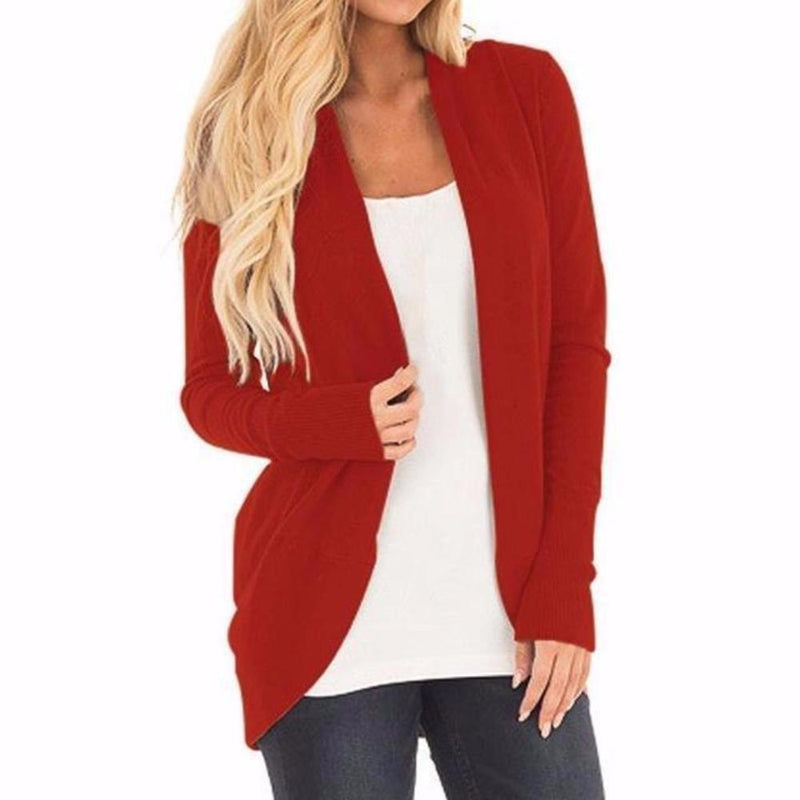 Women's Red Long Sleeve Sweater Jacket Cardigan