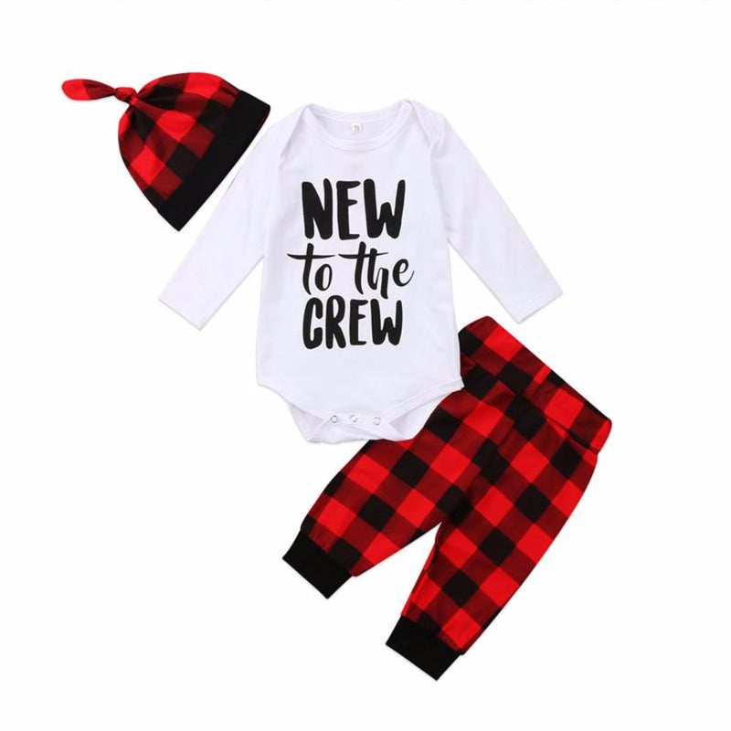 Sweet Newborn Baby Boy 3PCS Red Plaid New to the Crew Hat Bodysuit and Pants Set