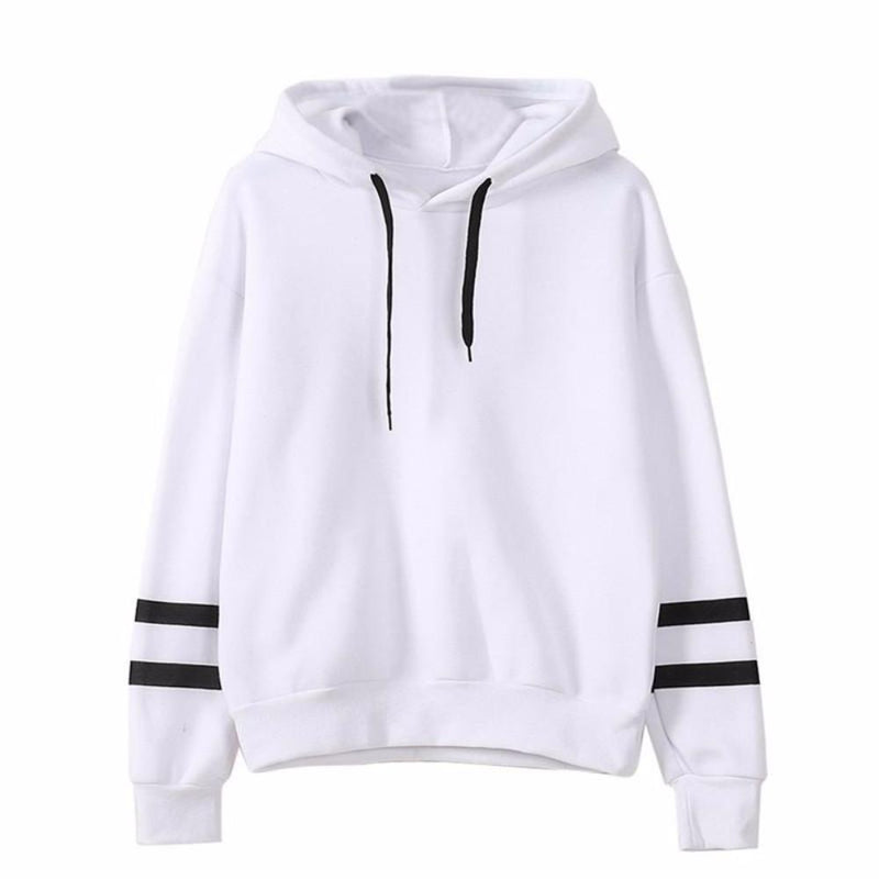 Women's White with Black Striped Long Sleeve Hoodies Sweatshirts Top