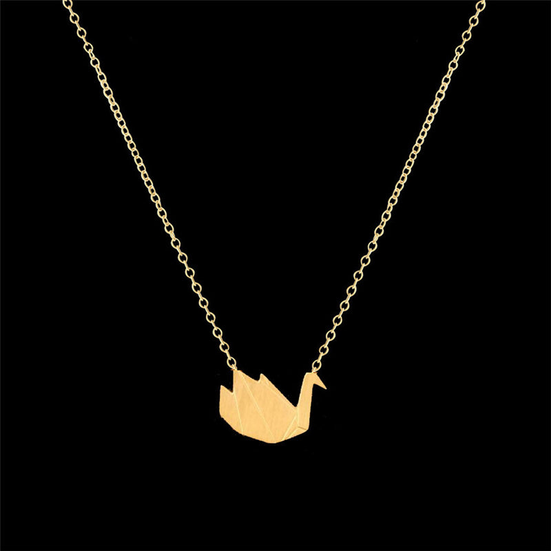 Beautiful Swan Bird Charm Dainty Necklace Choose Silver or Gold Tone
