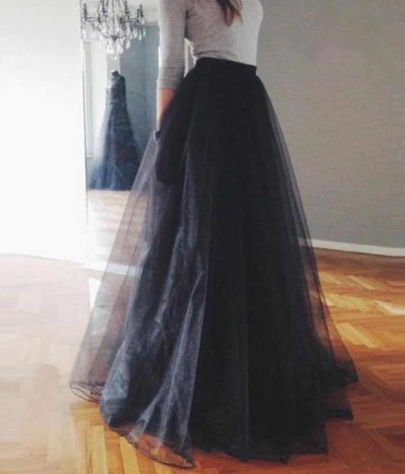 Stunning Black Long Layers of Tulle Maxi Mesh Skirt with High Elastic Waist