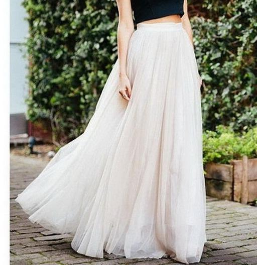 Stunning White Long Layers of Tulle Maxi Mesh Skirt with High Elastic Waist