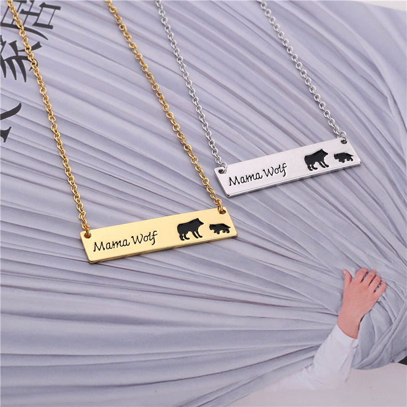 Awesome Mama Wolf Bar Necklace Gold Tone