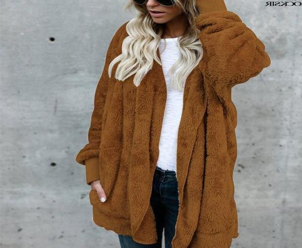 Brown/Coffee Fuzzy Fleece Long Cozy Hooded Jacket with Pockets