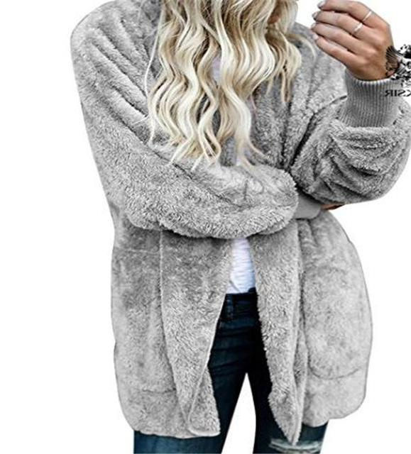 Gray Fuzzy Fleece Long Cozy Hooded Jacket with Pockets