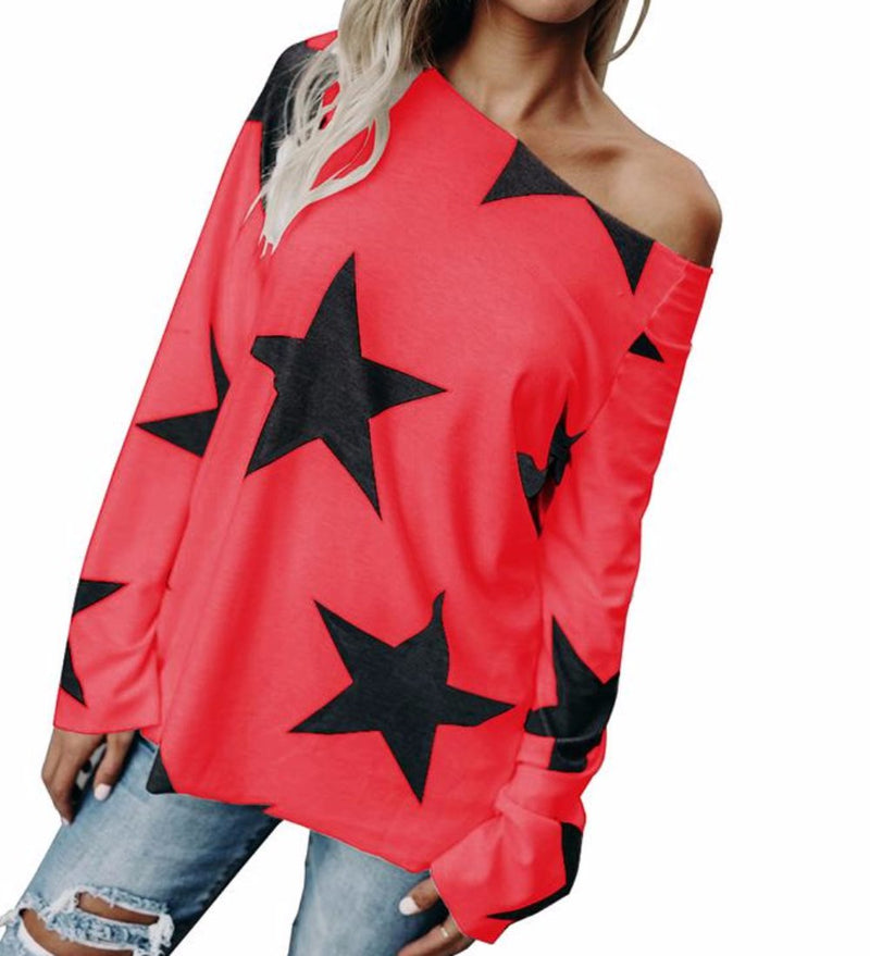 Women's Red With Black Stars Casual Off the Shoulder T-Shirt Top