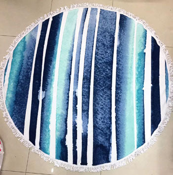 Fun Blue Striped Large Round Fringe Beach Towel Blanket