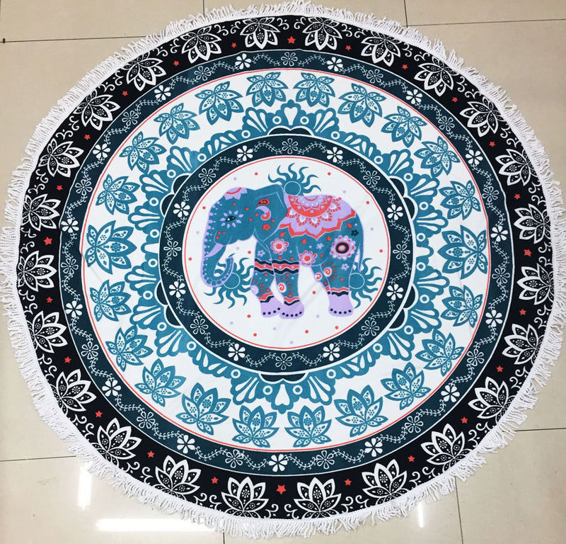 Fun Blue Medallion Elephant Large Round Fringe Beach Towel Blanket