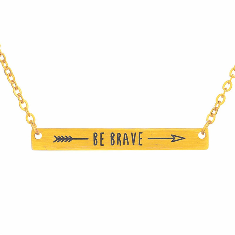 "Beautiful ""Be Brave"" Engraved Bar Necklace Gold Tone"