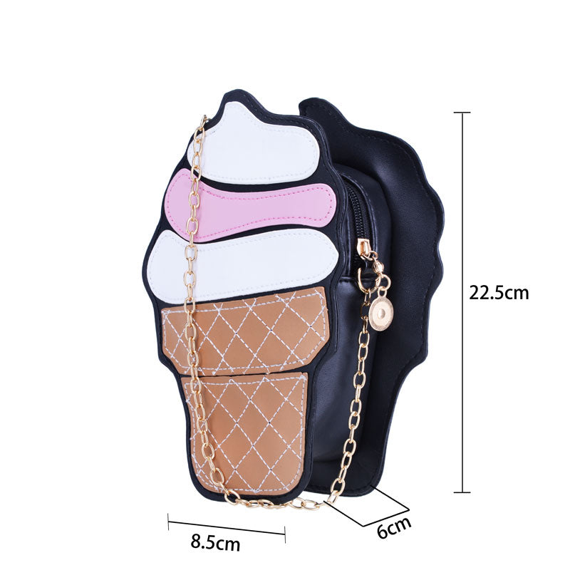 Pretty 3D Cutout Ice Cream Cone Mini Single Crossbody/Shoulder Purse with Metal Chain