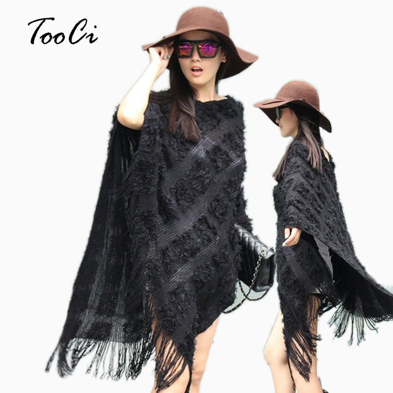 Fun Black Fuzzy/Knit Poncho Sweater Top with Tassels/Fringe