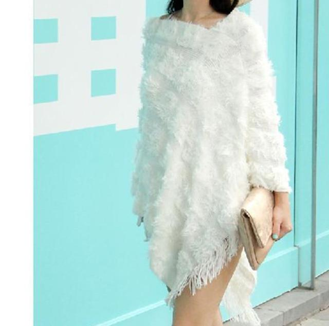 Fun White/Ivory Fuzzy/Knit Poncho Sweater Top with Tassels/Fringe