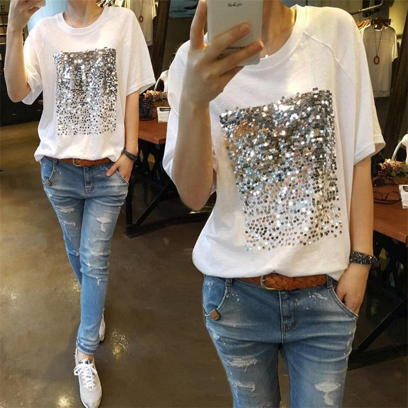 Fun White Square Sequin T-Shirt Short Sleeve Top