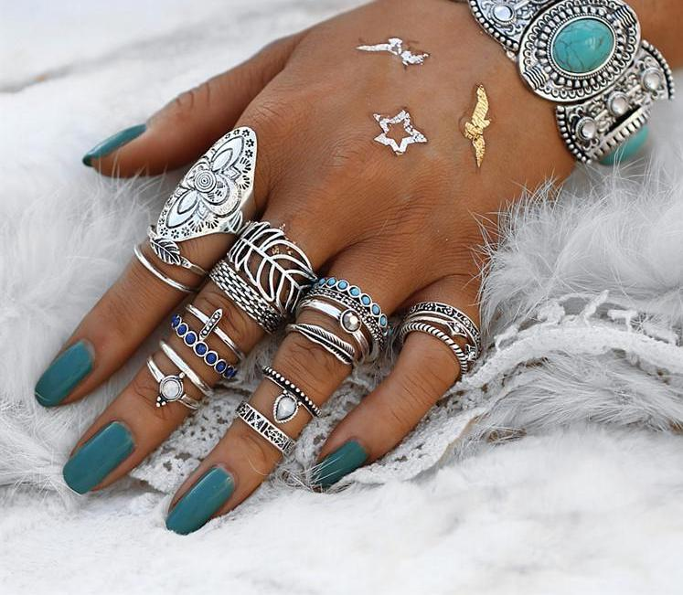 Beautiful Vintage Blue Beaded Feather Nature Tribal Look 18pcs/Set Midi Rings Silver Tone