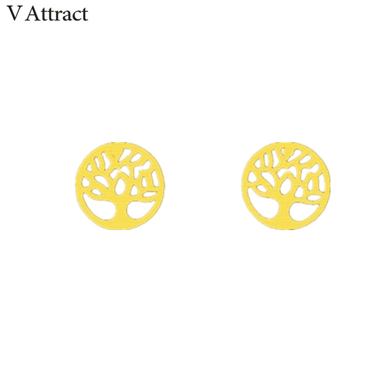 Beautiful Gold Tone Round Tree of Life Stud Earrings