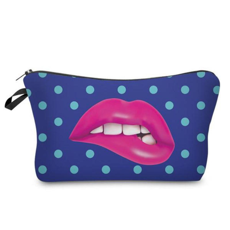 Fun Mouth and Blue Polkadot Photo Printed Zippered Cosmetic Bags