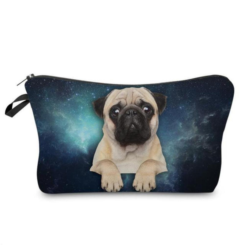 Fun Pug Puppy Photo Printed Zippered Cosmetic Travel Bag