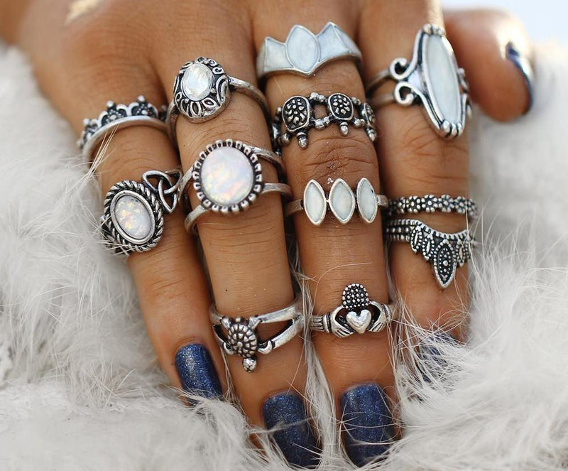 Beautiful Vintage Geometric Irish White Beaded Tribal Look 12pcs/Set Midi Rings Silver Tone