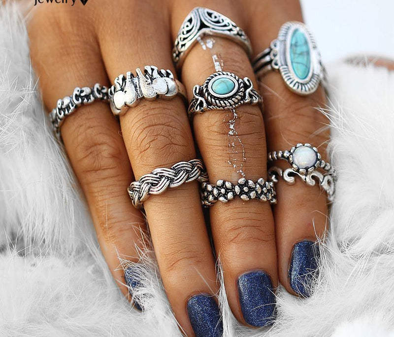 Beautiful Vintage Blue Bead Geometric Irish White Beaded Tribal Look 12pcs/Set Midi Rings Antique Silver Tone