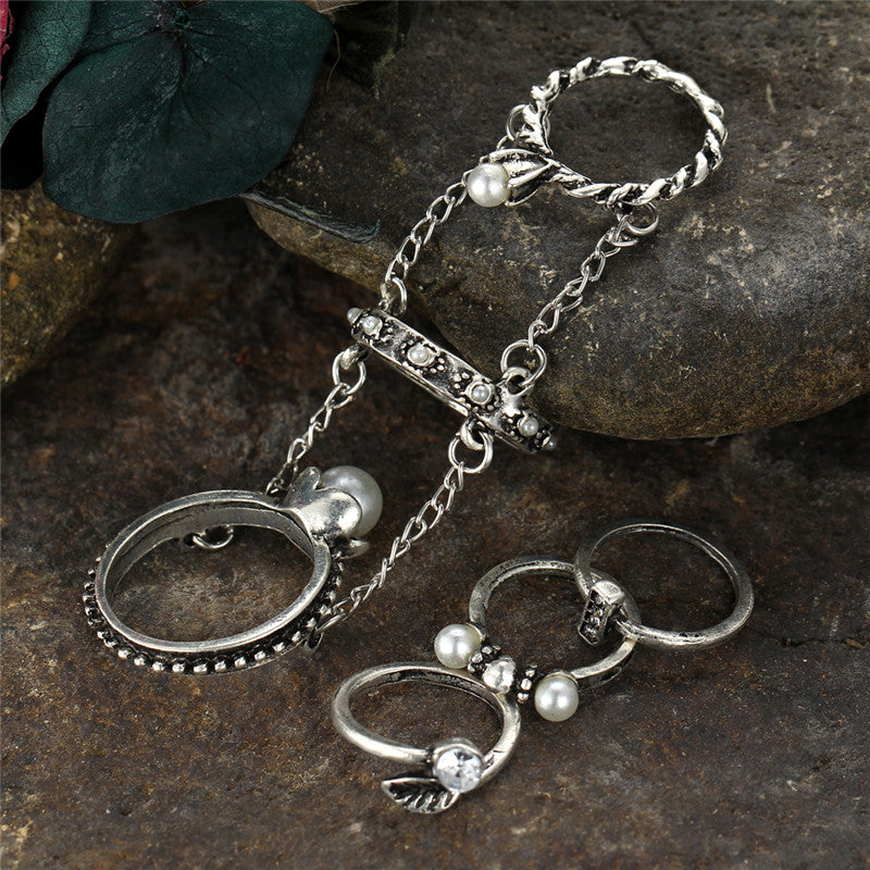 Beautiful Triple Chain Tribal/Vintage Look 4pcs/Set Midi Rings Antique Silver Tone