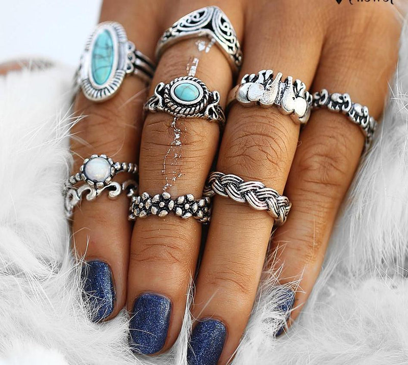 Beautiful Vintage Tribal Blue Beaded Stone Filigree Tribal Look Set of 11pcs Midi Rings Silver Tone