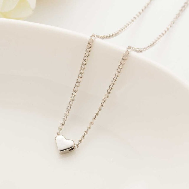 Awesome Dainty Tiny Heart Pendant Necklace Silver Tone