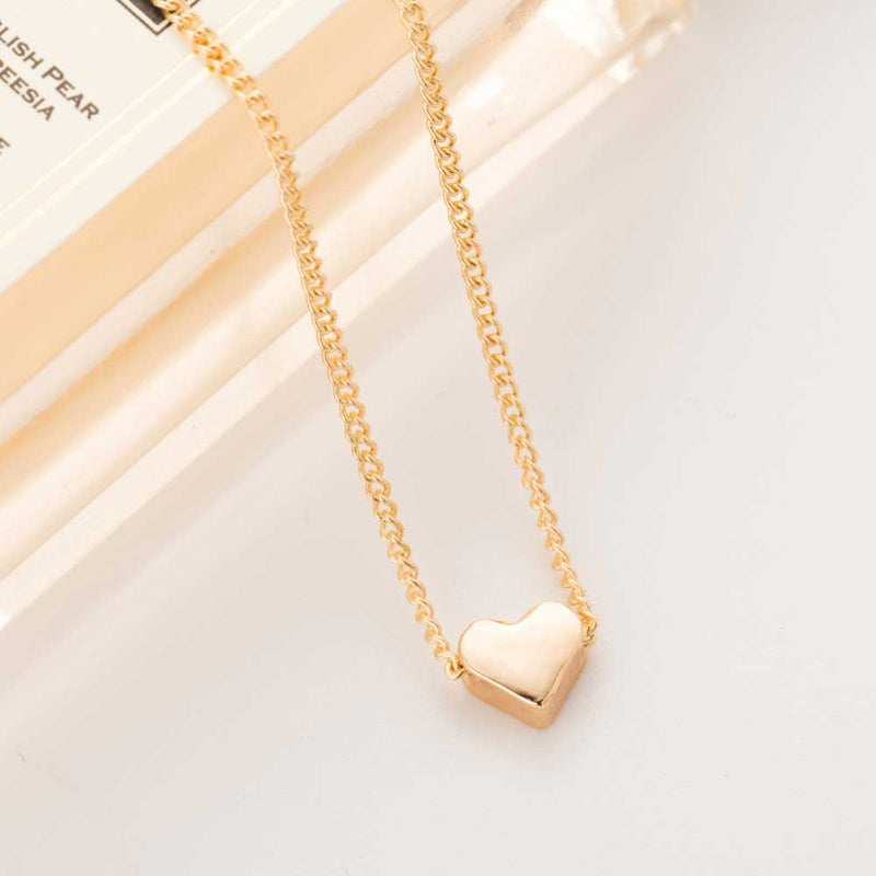 Awesome Dainty Tiny Heart Pendant Necklace Gold Tone