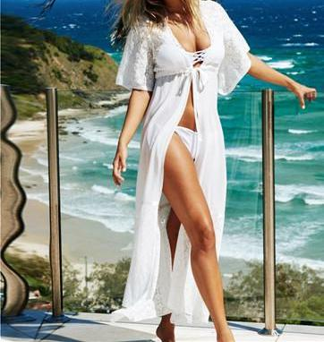 Beautiful White Cutout Lace Chiffon Cover Up Duster Bathing Suit Coverup with Tie