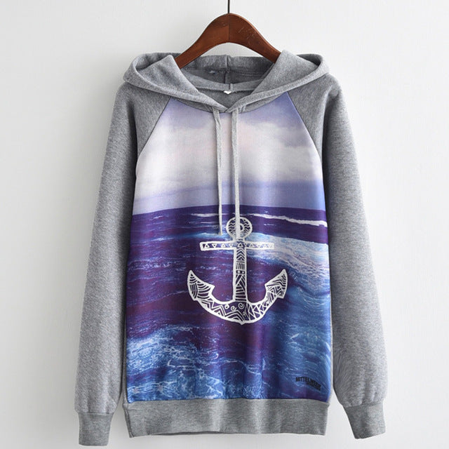 Blue Anchor Harajuku Cartoon Printed Gray Hooded Sweatshirt
