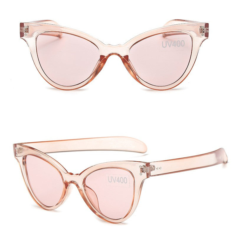 Women's Awesome Clear/Translucent Cat Eye Pink Sunglasses