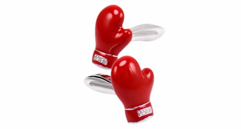 Men's 3D Red Boxing Gloves Shape Cufflinks Silver Tone