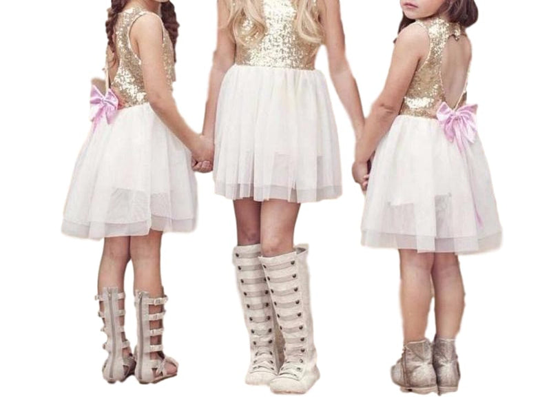 Little Girls Gold Sequins and White Tulle Skirt Dress with Cutout Heart Back 3T - 8