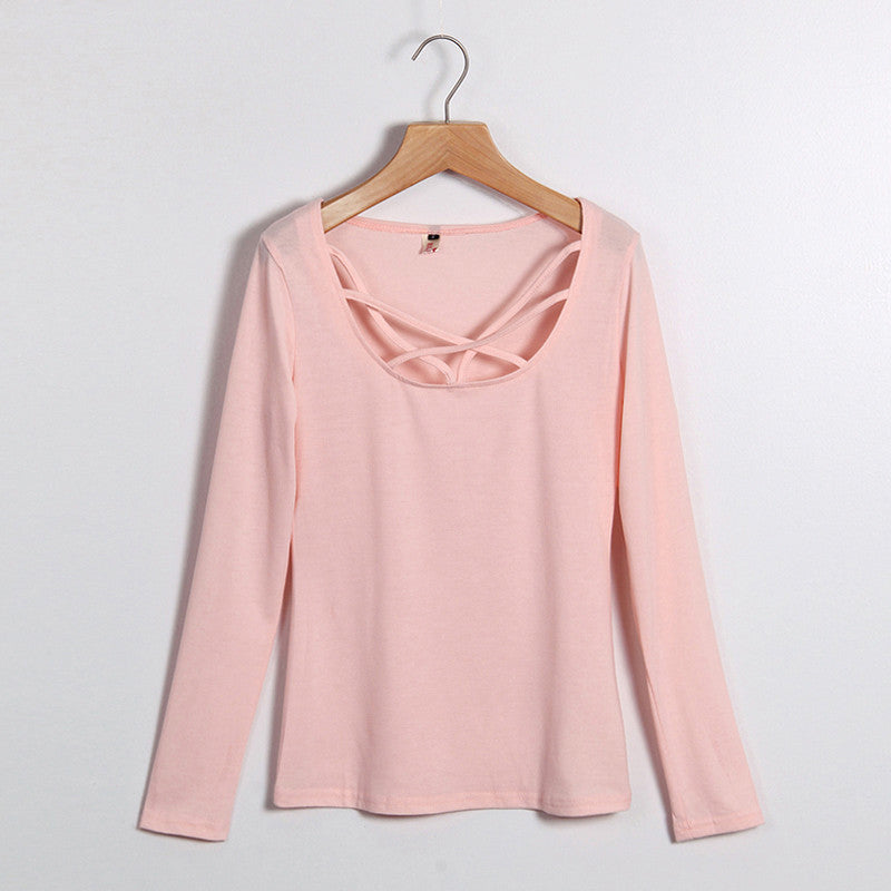 Women's Peach Pink Body/Con Criss Cross Front Lightweight T-Shirt Blouse