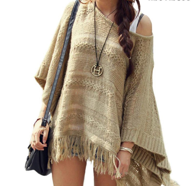 Beautiful Mocha/Khaki Cable Knit Poncho Fringe Sweater
